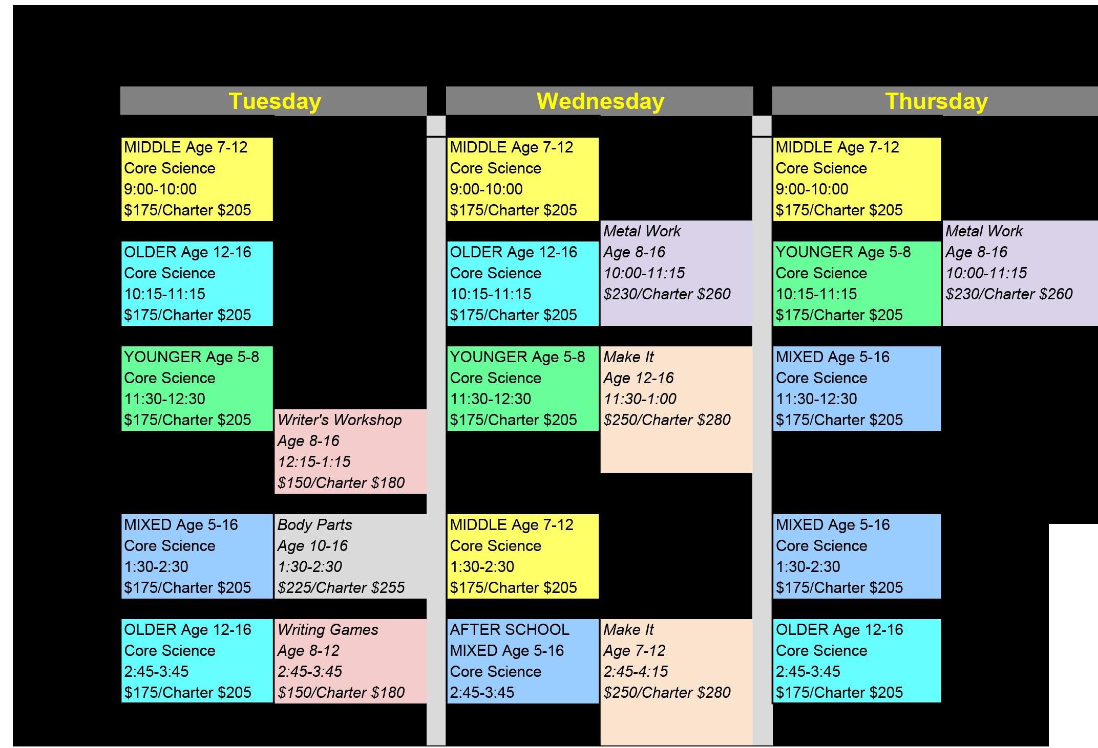 2017-18_Fall Homeschool Schedule
